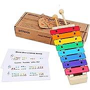 ammoon Xylophone Jouets 8 Touches Compact Taille Xylophone Glockenspiel avec Maillets En Bois Percussion Instrument de Musique Jouet Cadeau pour Enfants