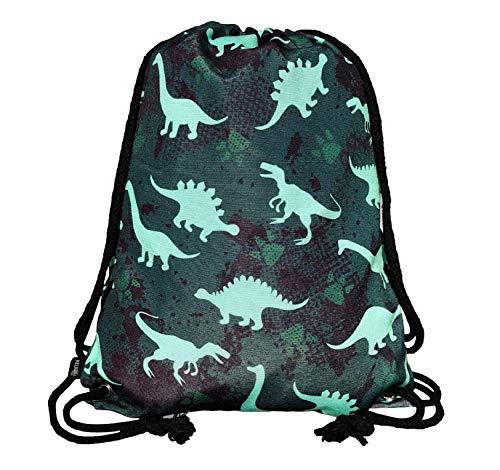 HECKBO Bolsa de gimnasia para niños - impresa por ambos lados con motivos de dinosaurios - 40x32cm - para kindergarten, cuna, viajes, deportes - mochila, bolsa de juego, bolsa de deporte, bolsa de za