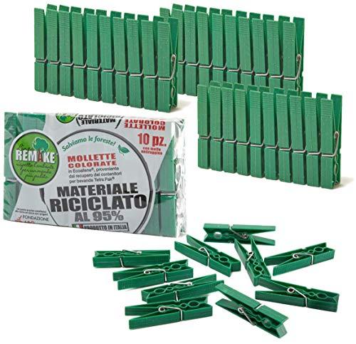 remake Set 40 Mollette Ecologiche Plastica 95% Riciclata, Misura Grande. Ideali per Bucato, Foto, Decorative. Stampo monoblocco. Resistenti e Antivento