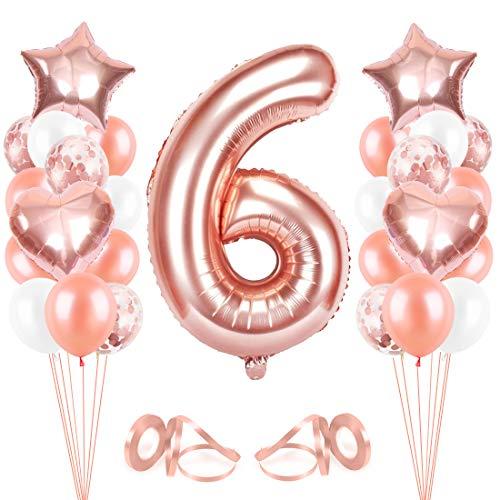 Bluelves Luftballon 6. Geburtstag Rosegold, Geburtstagsdeko Mädchen 6 Jahr, Happy Birthday Folienballon, Deko 6 Geburtstag Mädchen, Riesen Folienballon Zahl 6, Ballon 6 Deko zum Geburtstag