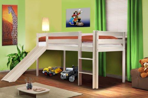 SixBros. Hochbett Kinderbett Spielbett mit Rutsche Massiv Kiefer Weiß - SHB/1032