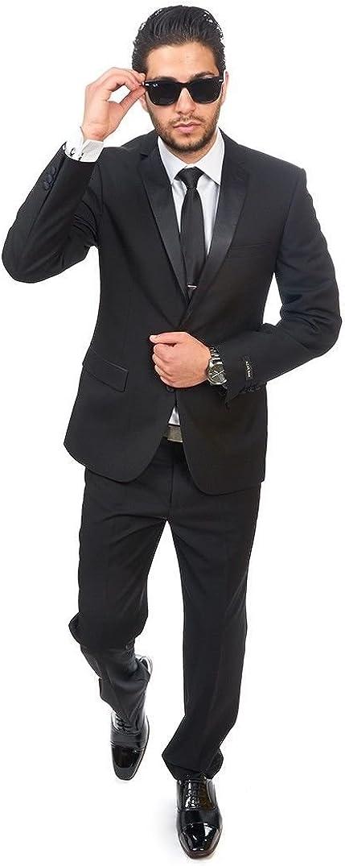 AZAR MAN Slim Fit Men Suit Tuxedo Black 2 Button Satin Collar Flat Front Pants