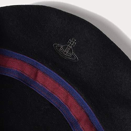 (ヴィヴィアンウェストウッド)VivienneWestwoodベレー帽子ORB刺繍バスクベレーベレー帽ファッションORBオーブ毛ウール100%調節可能防寒具ウェアビビアン正規品(ブラック)