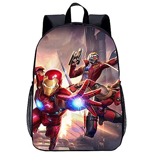 KKASD Borsa da scuola per bambini Iron Man Poster Zaino stampato in 3D Zaino ultraleggero, unisex e resistente, comodo per i viaggi e gli sport all'aria aperta, 17 pollici