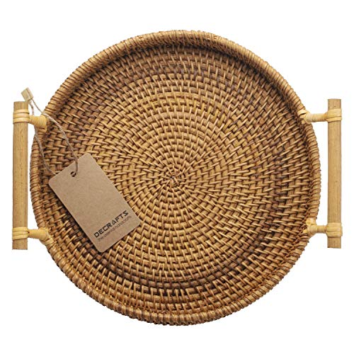 DECRAFTS Small Woven Bread Baskets with Handles Round Rattan Cracker Tray for Serving Dinner Parties Coffee Tea (11 inches Diameter)