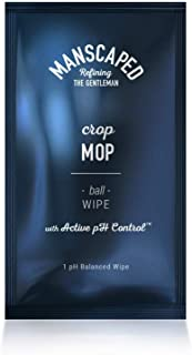 Manscaped Crop Mop: world's first On-The-Go Ball Wipe Individual 15 Pack, anti-chafing protection, men's odor control, male hygiene wipes, pH balancing, cleaning wipe designed for the male groin area