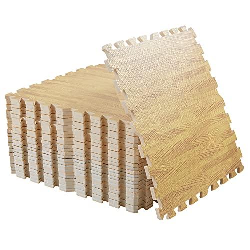 LUVODI Tappetini in schiuma ad incastro per pavimento, 60 x 60 cm, in morbida schiuma per pavimenti in legno, per esercizi di palestra, bambini e pavimento (12 pezzi)