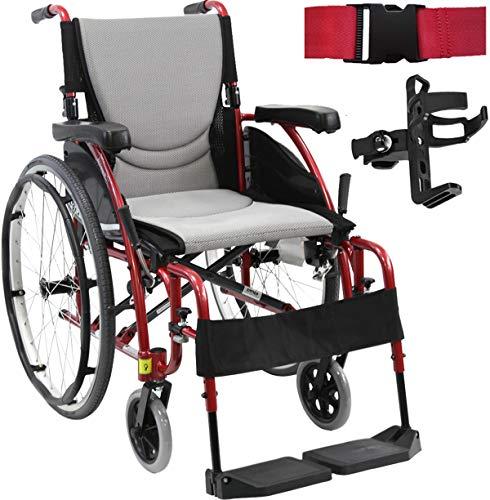 Karman S-Ergo 115 Ultra Lightweight Ergonomic Wheelchair   Seat Size 16' X 17'   Fixed Wheels in Red and Free Red Wheelchair Seatbelt & Black Bottle Holder!