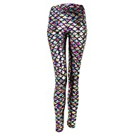 Stretchy 4-Way Spandex, Polyester, soft and comfortable fabric, more shine in the sun. Tag Size S=UK 2-6; Tag Size L=UK 8-10; Tag Size XXL=UK 12-14 Mermaid 3D printed fish scale leggings design, vivid fish scales, fashion and cute. Feel comfortable i...