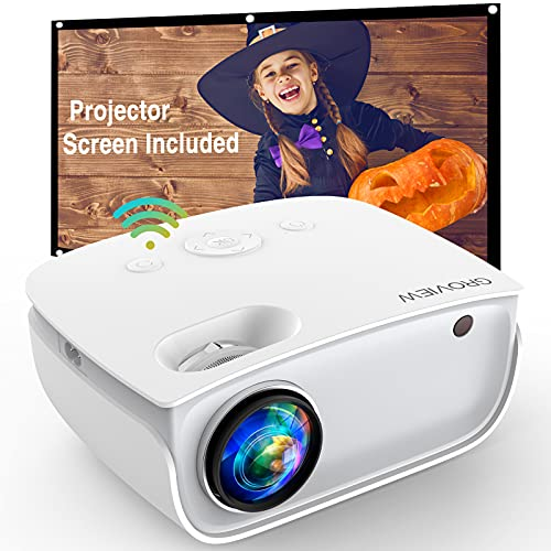 GROVIEW WiFi Projector, 6500 Lumen Mini Video Projector with Screen, 1080P...
