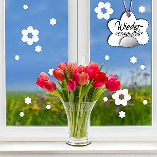 Wandtattoo-Loft Fensteraufkleber Frühling Blumen in der Farbe Weiss WIEDERVERWENDBAR / 17 Aufkleber im Set/Fensterbilder Ostermotiv/Fensterdeko Set