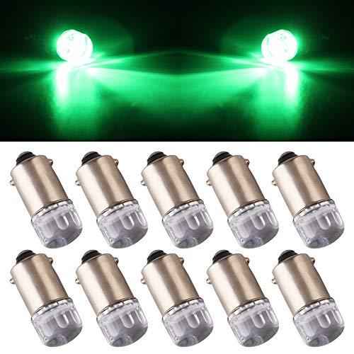 Qasim 10Pcs T11 T4W BA9S H6W 1895 3030 1W 1SMD 1-LED RV Indicador del Marcador Lateral de la Cola del automóvil RV Luz de la Esquina reversa Interior Bombilla LED 12V DC Verde