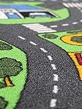Spielteppich Autoteppich Straßenteppich City - 95x200 cm, Anti-Schmutz-Schicht, Auto-Spielteppich für Mädchen & Jungen, Kinderteppich Strasse Fußbodenheizung geeignet - 3