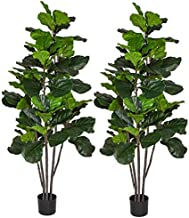 6 Feet Artificial Fiddle Leaf Fig Tree in Planter,Artificial Tree Beautiful Fake Plant Fiddle Leaf Indoor/Outdoor UV Resis...