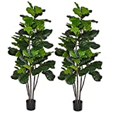 6 Feet Artificial Fiddle Leaf Fig Tree in Planter,Artificial Tree Beautiful Fake Plant Fiddle Leaf Indoor/Outdoor UV Resistant Tree for Living Room Balcony Corner Decor,2PACK