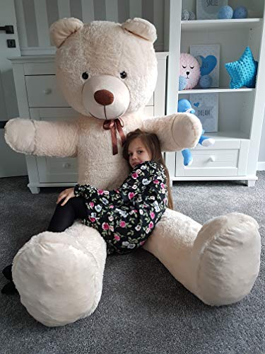 Odolplusz Teddybär 205cm | Farbe : Beige | Groß Teddy Bear Plüschbär Stofftier Kuscheltier Plüschtier XXL