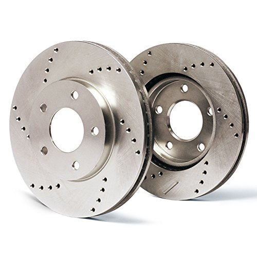 Max Brakes Front Cross Drilled Rotors Performance Brake Rotors SY005621 | Fits: 2007 07 2008 08 Acura TL; Non Type-S Models w/Brembo Front Calipers