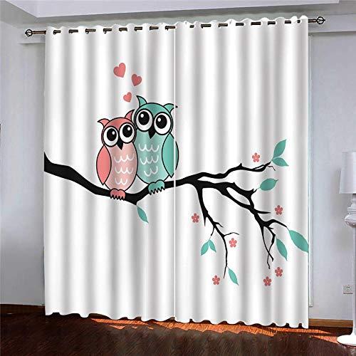 YNKNIT Blickdichter Vorhang mit Ösen Eule 2er Set Gardinen Vorhänge Blickdicht,verdunkelungsvorhang,thermovorhang für Wohnzimmer, Schlafzimmer und Räume 167x183cm
