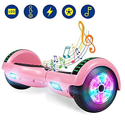 """YHR 6.5"""" Hoverboard -Self Balancing Scooter 2 Wheel Electric Scooter - UL Certified 2272 Bluetooth W/Speaker, LED Wheels and LED Lights (Pink)"""