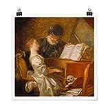 Bilderwelten Poster Jean Honoré Fragonard - The Piano Lesson Cuadrado, Brillante 30 x 30cm
