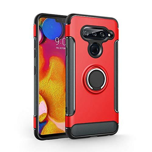 Labanema LG V40 ThinQ Hülle, Ring Kickstand 360 Grad rotierenden Fingerring Grip Drop Schutz Stoßdämpfung Weichen TPU Cover für LG V40 ThinQ - Rot