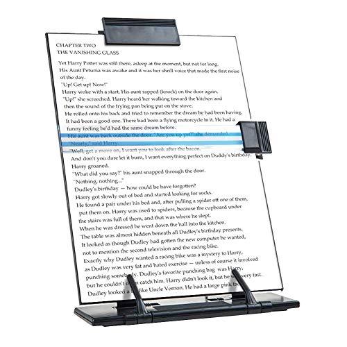Atril de sobremesa JDYYICZ para documentos o libros, de metal negro, 7posiciones ajustables