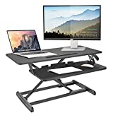IBAMA Height Adjustable Office Workstation Standing Desk Converter, 35 Inch Computer Tabletop Stand Up Desk Fits Dual Monitors, Ergonomic Deep Keyboard Tray, Table Riser with Gas Spring-BLACK