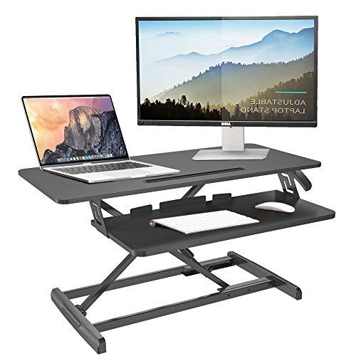 IBAMA Sitz-Steh-Schreibtisch Höhenverstellbarer Schreibtischaufsatz, Ergonomischer Schreibtisch Konverter für Computer, Laptop und Bürobedarf, Kompatibel mit Monitorhalterung, Schwarz