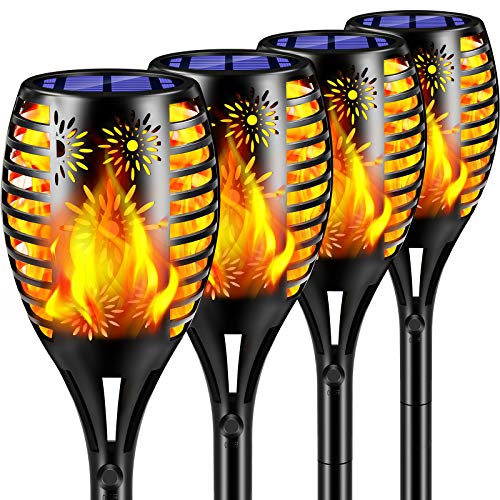 TomCare Solar Lights Outdoor Flickering Flame Solar Torches Lights Outdoor Lighting Solar Powered Waterproof Pathway Lights Landscape Decorative Lighting Auto On/Off for Garden Patio Yard, 4 Pack