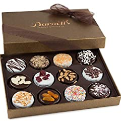 ELEGANT GIFT BOX, 12 CHOCOLATE COVERED COOKIES: Twelve delicious gourmet Chocolate covered sandwich cookies in 12 decadent flavors, Ribbon wrapped - Ready to Gift for Family Teachers or as a Care Package for Collage Students & Families TWELVE DELIGHT...