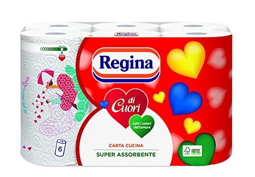 Regina di Cuori Carta Cucina | Confezione da 6 Rotoli | 50 fogli per rotolo* | Grande Assorbenza, Spessa e Resistente | Carta 100% certificata FSC®