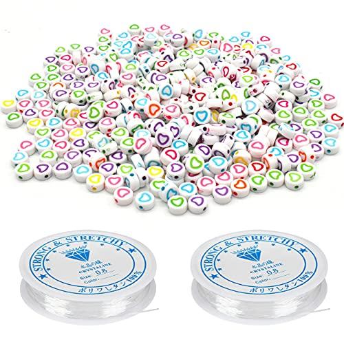 Perlas de colores,Perlas para manualidades, Perlas para pulseras, Perlas para collares,200 unidades de perlas en forma de corazón y cordón elástico de 8 m(2 rollos)