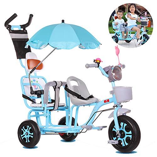FLy Triciclo De Pedales para Niños Al Aire Libre Triciclo para Gemelos Asiento Doble con Cesta Toldo Extraíble, con Asa De Empuje Desmontable Ajuste De 12 Meses A 6 Años,Negro