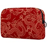 Red Chinese Dragon Travel Makeup Case,Toiletry Bag Makeup set Bag with Pouch Portable Cosmetic Travel Bag Waterproof Organizer Case Storage Bag for Women and Girls,