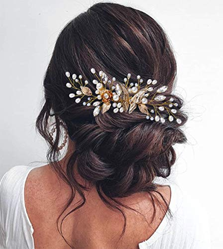 Unicra Bride Wedding Hair Comb Gold Butterfly Headpiece Crystal Pearl Bridal Hair Combs Accessories for Women and Girls