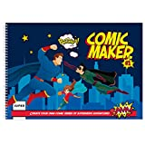 Superhero Comic Maker Book - Create Your Own Comic Strip - Blank 17x11' Sketchbook - Stickers Included