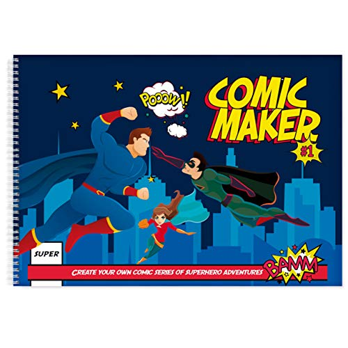 Comic Maker Book | Blank 17x11' Sketchbook | Art Books for Kids | Create Your Own Comic Strip | Comic Book Boards for Cartoon Drawing | Unique Superhero Themed Templates | Blank Comic Books