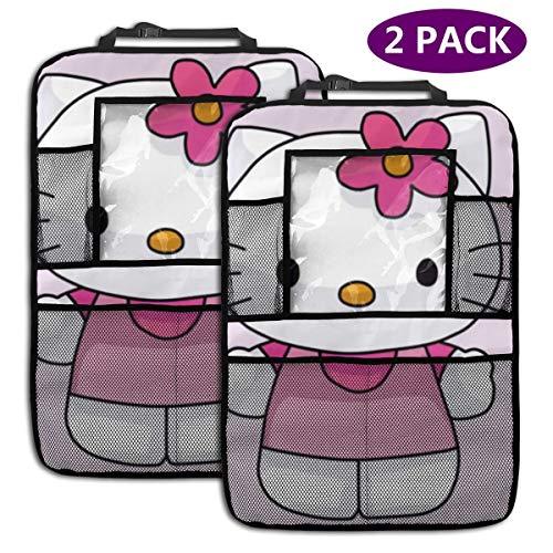 TBLHM Draw Hello Kitty Lot de 2 Sacs de Rangement pour siège arrière de Voiture avec Support pour Tablette