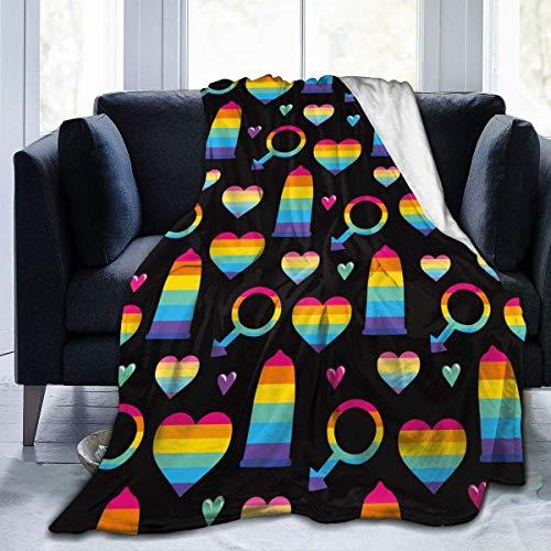 Nat Abra Regenbogen Kondome Ultra Soft Flanell Fleece ganzjährig leichtes Wohnzimmer/Schlafzimmer warme Decke