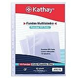 Kathay 86557100. Bolsa de 10 Fundas Multitaladro, 16 Taladros, Tamaño Folio, Polipropileno Estándar Liso