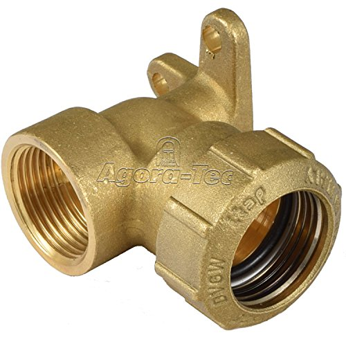 Agora-Tec® Messing Fitting Winkel 90 Grad 25mm auf 3/4 Zoll IG (24,2mm) für PE-Rohr 25mm zur Wandmontage