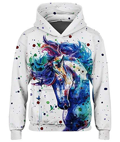 Loveternal 3D Druck Kapuzenpullover 5-6 Jahre Farbiges Pferd Hoodie Langarmshirts Pullover Teenager Mädchen Leichte Sweatshirts mit Taschen Schwarz M