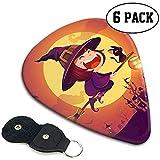 Púas de guitarra Halloween Flying Little Witch Girl Kid en Halloween Flying Over The Moon Púas de guitarra Set de 6 piezas