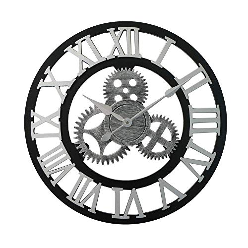 chaozhi Reloj de Pared de Cocina, Reloj de Pared silencioso de Madera, Reloj de Bolsillo Retro de Engranaje-Plata, Reloj de Pared Moderno Creativo-Silver|| 40cm