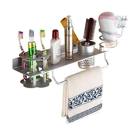 JUIZS rek badkamer plank drager badkamer haardroger com-opslag rek muur gemonteerde hangcup kamer aluminium met tandenborstelhouder rek badkamer plank zonder boren