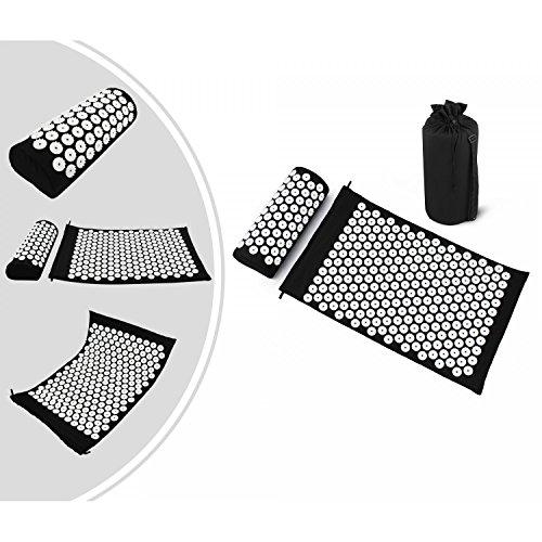 Leogreen - Kit d'Acupression avec Tapis et Coussin, Set de Massage, Noir, avec sac et coussin, Standards/Certifications: ROHS, Nombre de clous: 66 pieces sur oreiller