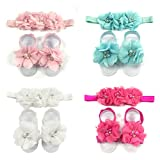 ALLYDREW Baby Girl Barefoot Flower Sandals & Headbands Set Chiffon Flower Baby Sandals - Princess (set of 4),One Size