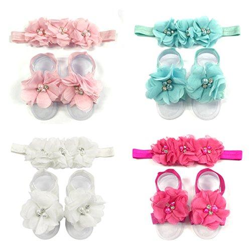 ALLYDREW Baby Girl Barefoot Flower Sandals & Headbands Set Chiffon Flower Baby Sandals - Princess (set of 4),One Size