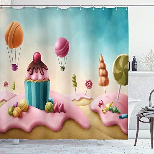 N \ A Fantasy Duschvorhang, Surreal Candyland Cupcake Bonbon Lollipops Food Delicious Sweets, Stoffstoff Badezimmer Dekor Set mit Haken, 183 cm lang, mehrfarbig