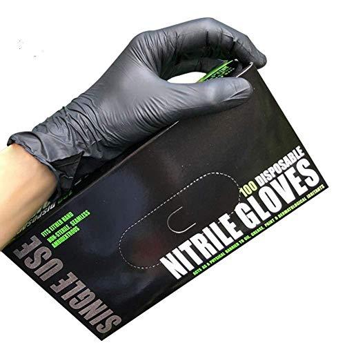 Preisvergleich Produktbild Vommpe 100 stück Einweghandschuhe Nitril Handschuhe Geeignet für den Täglichen Gebrauch Industrie (Schwarz, L)